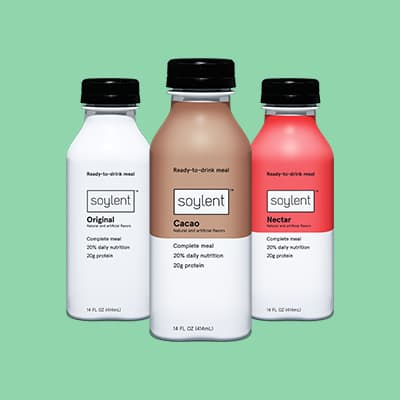Three bottles of Soylent Drink.