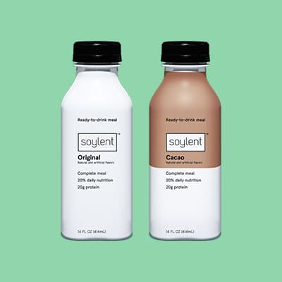 Two bottles of Soylent Drink.