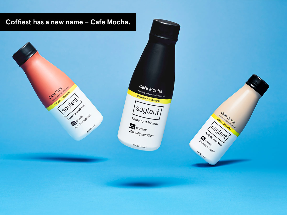 Three bottles of Soylent Cafe. Coffiest, Vanilla and Chai.