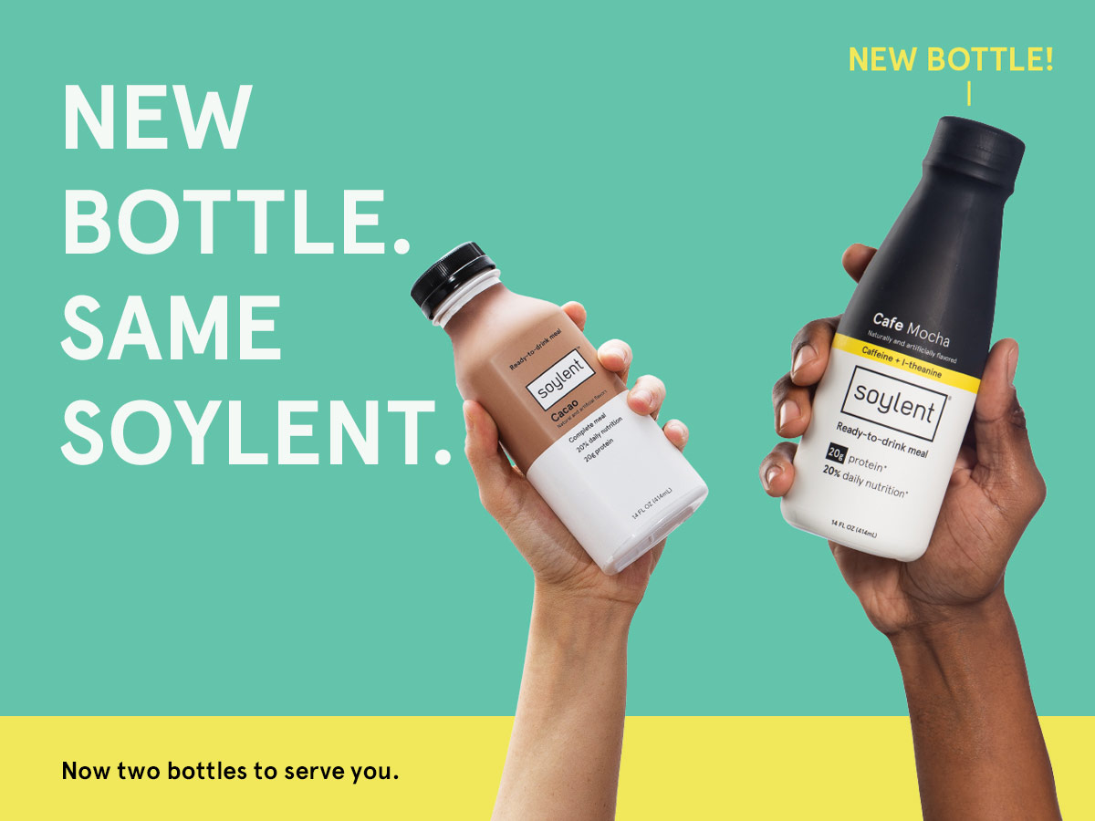 A bottle of Soylent Cafe Vanilla surrounded by vanilla and coffee beans.