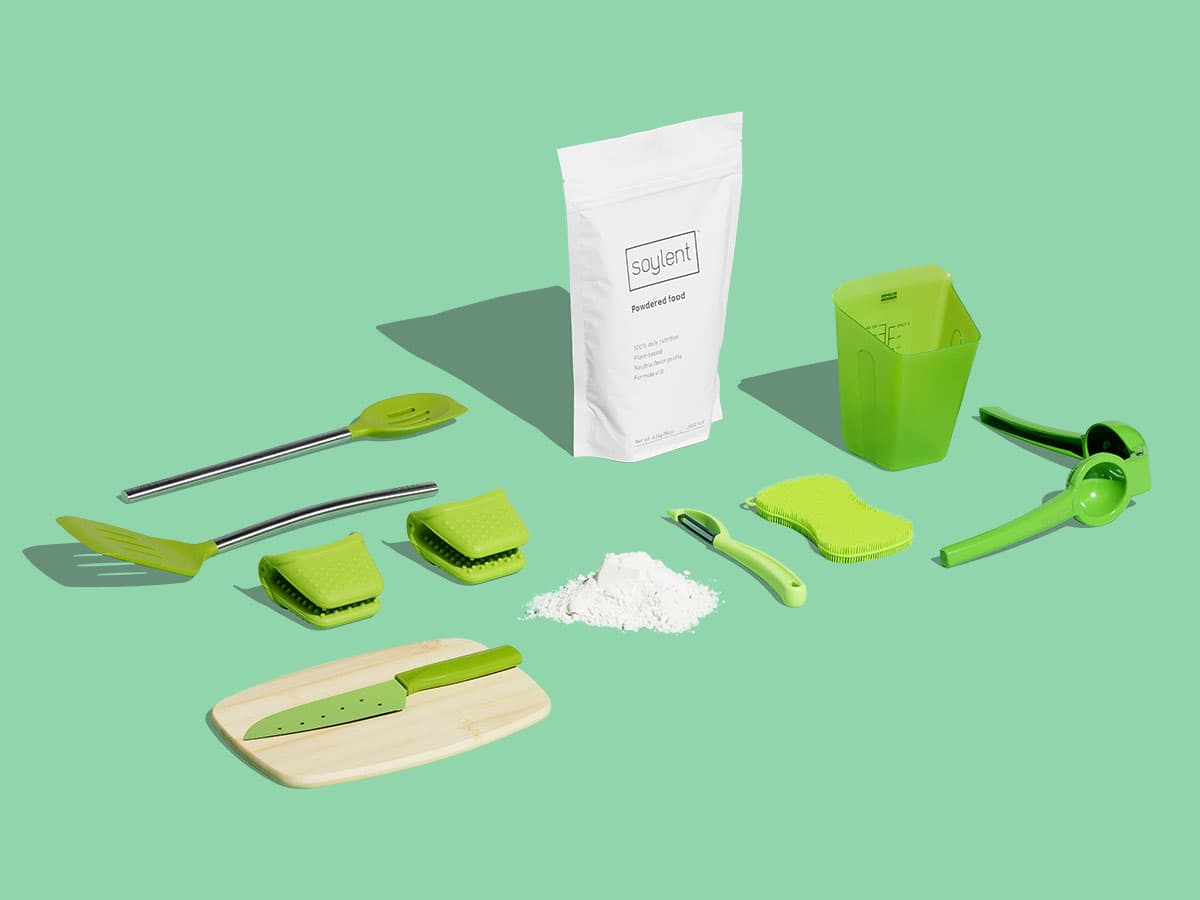 Soylent Powder Pouch with assortment of kitchen utensils.